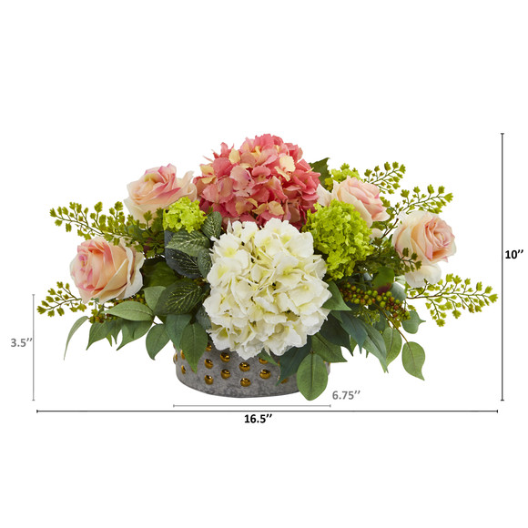 16.5 Rose Hydrangea and Maiden Hair Artificial Arrangement in Bowl with Gold Trimming - SKU #A1170 - 1
