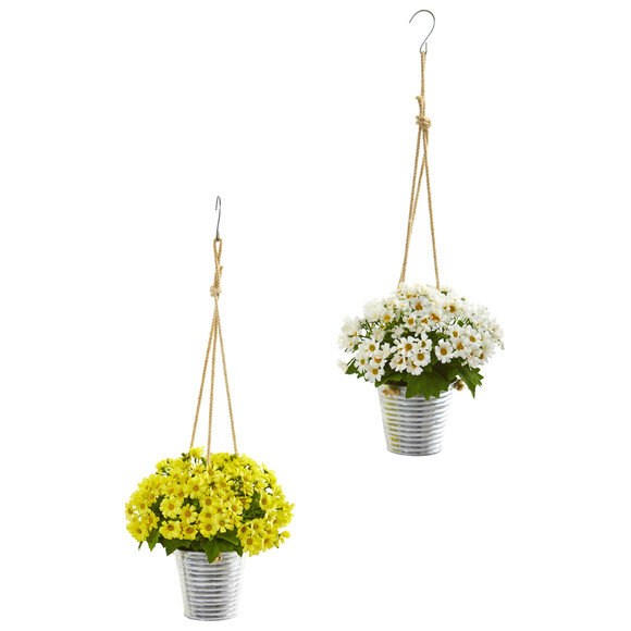 24 Daisy Artificial Arrangement in Hanging Bucket Set of 2 - SKU #A1172-S2 - 2