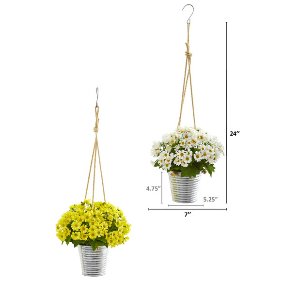 24 Daisy Artificial Arrangement in Hanging Bucket Set of 2 - SKU #A1172-S2 - 3