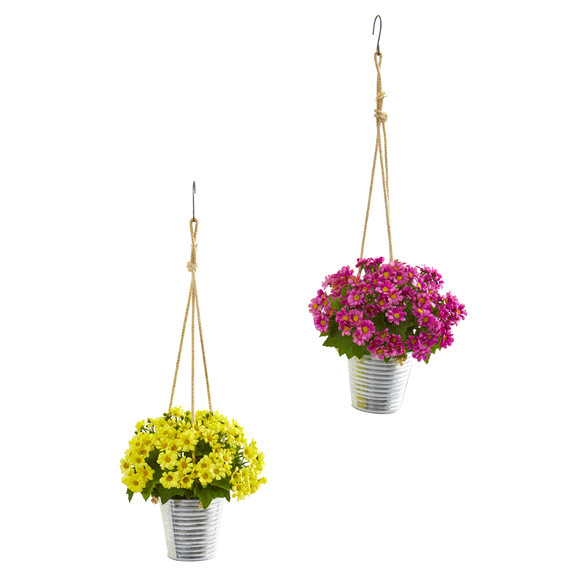24 Daisy Artificial Arrangement in Hanging Bucket Set of 2 - SKU #A1172-S2