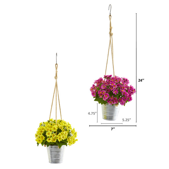 24 Daisy Artificial Arrangement in Hanging Bucket Set of 2 - SKU #A1172-S2 - 1