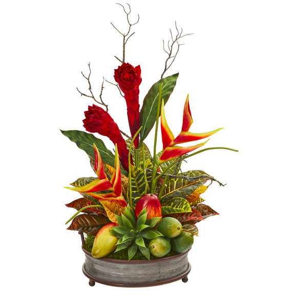 28 Mixed Tropical Arrangement in Metal Tray with Copper Trimming - SKU #A1173