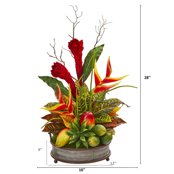 28 Mixed Tropical Arrangement in Metal Tray with Copper Trimming - SKU #A1173 - 1