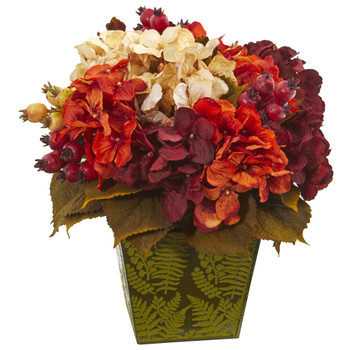 13 Autumn Hydrangea Berry Artificial Arrangement in Green Vase - SKU #A1175