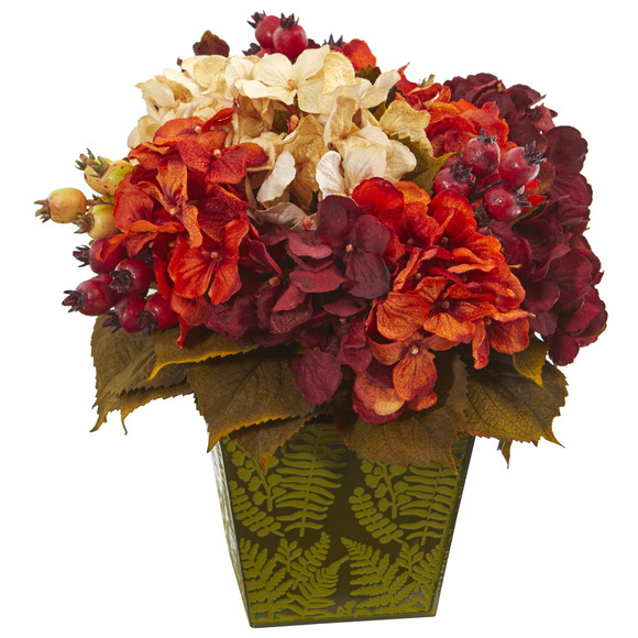 13 Autumn Hydrangea Berry Artificial Arrangement in Green Vase - SKU #A1175