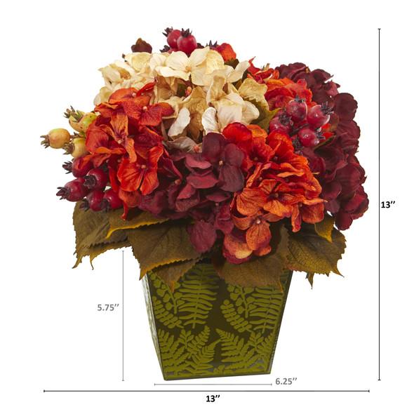13 Autumn Hydrangea Berry Artificial Arrangement in Green Vase - SKU #A1175 - 1