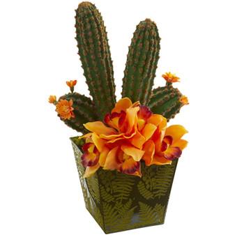 16 Cymbidium Orchid and Cactus Artificial Arrangement in Green Vase - SKU #A1176