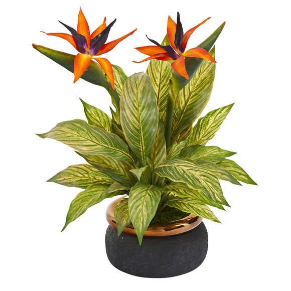 20 Bird of Paradise and Musa Leaf Artificial Arrangement in Stoneware Bowl - SKU #A1178