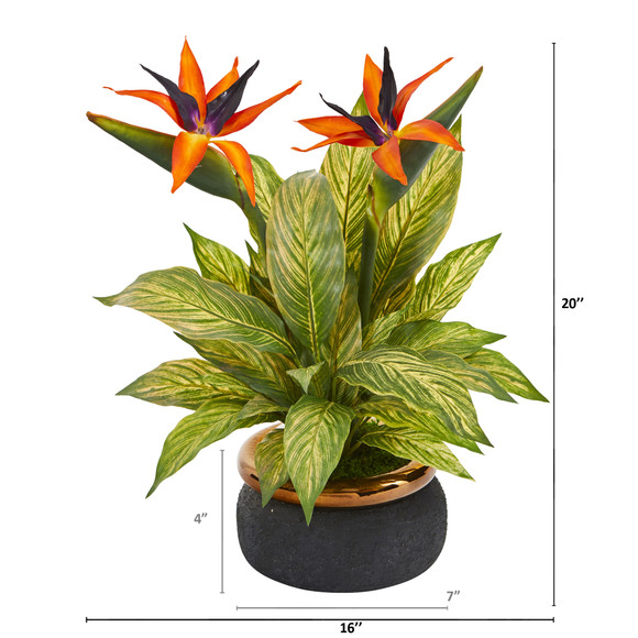 20 Bird of Paradise and Musa Leaf Artificial Arrangement in Stoneware Bowl - SKU #A1178 - 1