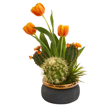18 Tulips and Succulents Artificial Arrangement in Stoneware Vase - SKU #A1179