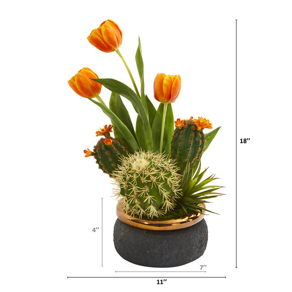 18 Tulips and Succulents Artificial Arrangement in Stoneware Vase - SKU #A1179 - 1