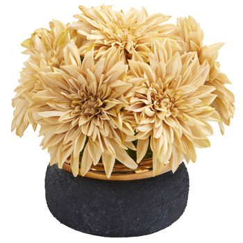 13 Dahlia Artificial Arrangement in Stoneware Vase - SKU #A1180-CR