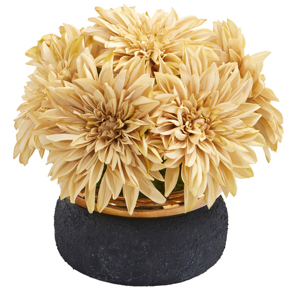 13 Dahlia Artificial Arrangement in Stoneware Vase - SKU #A1180-CR
