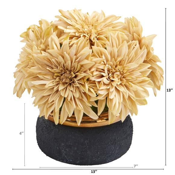 13 Dahlia Artificial Arrangement in Stoneware Vase - SKU #A1180-CR - 1