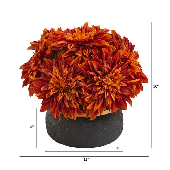 13 Dahlia Artificial Arrangement in Stoneware Vase - SKU #A1180 - 3