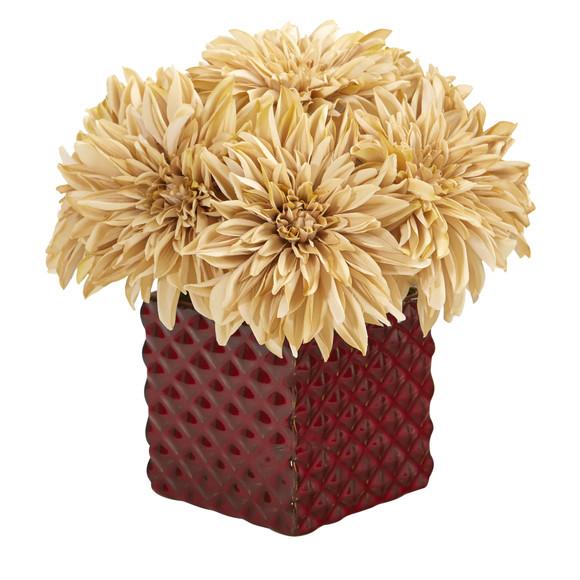 11 Dahlia Artificial Arrangement in Red Ceramic Cube - SKU #A1181-CR