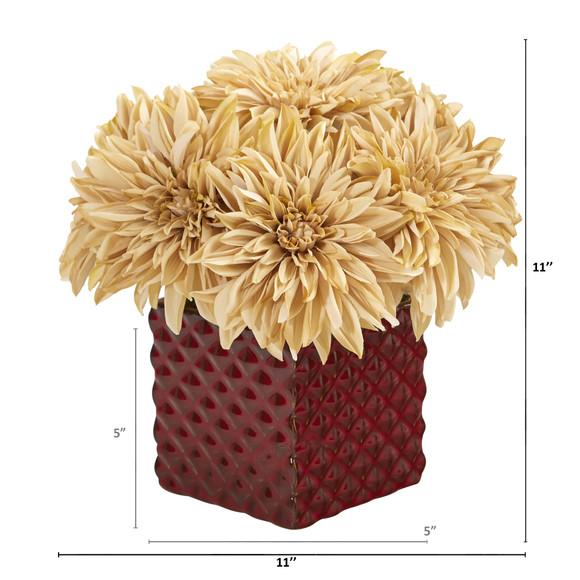 11 Dahlia Artificial Arrangement in Red Ceramic Cube - SKU #A1181-CR - 1