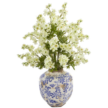 23 Dancing Daisy Artificial Arrangement in Decorative Vase - SKU #A1182-WH