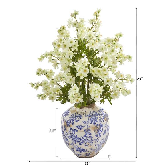 23 Dancing Daisy Artificial Arrangement in Decorative Vase - SKU #A1182-WH - 1