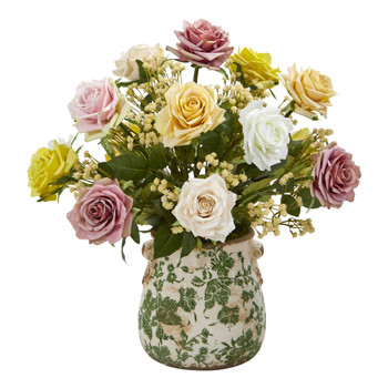16 Rose and Gypsophila Artificial Arrangement in Floral Vase - SKU #A1183-AS