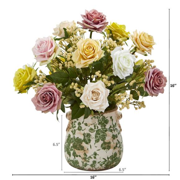 16 Rose and Gypsophila Artificial Arrangement in Floral Vase - SKU #A1183-AS - 1