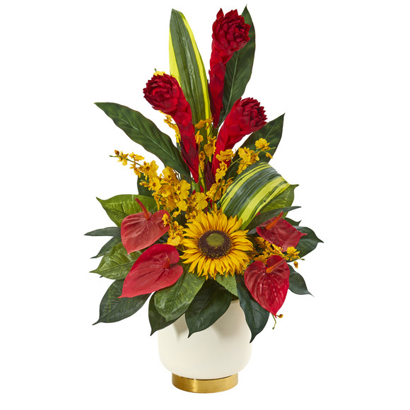 30 Mixed Tropical Floral Artificial Arrangement in Cream Vase with Gold Base - SKU #A1185