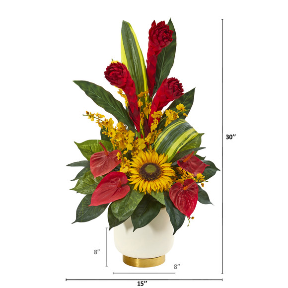 30 Mixed Tropical Floral Artificial Arrangement in Cream Vase with Gold Base - SKU #A1185 - 1