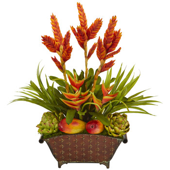 27 Tropical and Faux Fruit Artificial Arrangement in Metal Planter - SKU #A1186