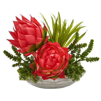 16 Succulent and Floral Artificial Arrangement in Decorative Vase - SKU #A1188