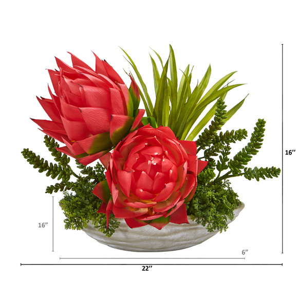 16 Succulent and Floral Artificial Arrangement in Decorative Vase - SKU #A1188 - 1