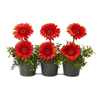 14 Gerber Daisy Artificial Arrangement in Trio Metal Vase - SKU #A1189-OG