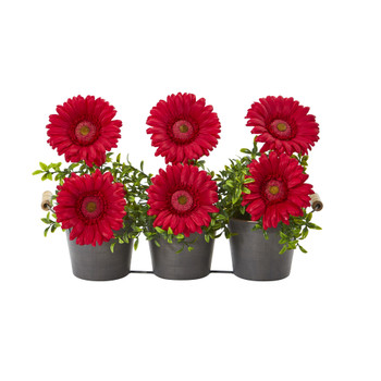 14 Gerber Daisy Artificial Arrangement in Trio Metal Vase - SKU #A1189