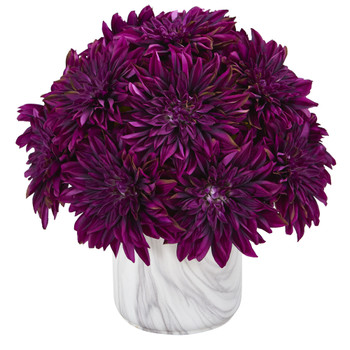 15 Dahlia Artificial Arrangement in Marble Finished Vase - SKU #A1190-PP