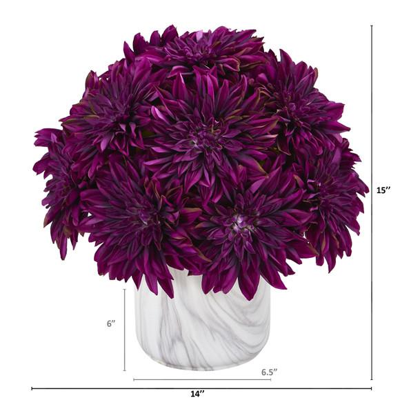15 Dahlia Artificial Arrangement in Marble Finished Vase - SKU #A1190-PP - 1