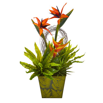 20 Tropical and Succulent Artificial Arrangement in Green Vase - SKU #A1191