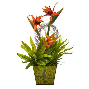 20 Tropical and Succulent Artificial Arrangement in Green Vase - SKU #A1191