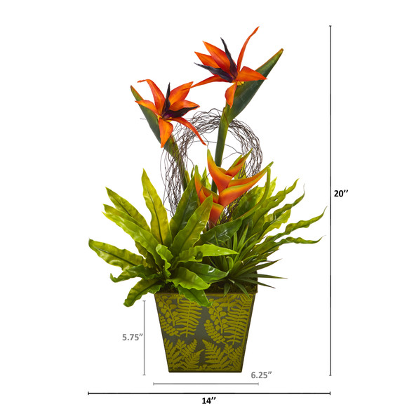 20 Tropical and Succulent Artificial Arrangement in Green Vase - SKU #A1191 - 1