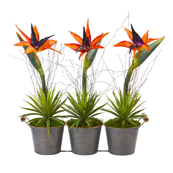 14 Bird of Paradise and Succulent Artificial Arrangement in Trio Metal Planter - SKU #A1192