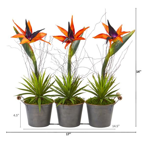 14 Bird of Paradise and Succulent Artificial Arrangement in Trio Metal Planter - SKU #A1192 - 1