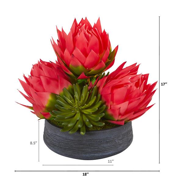 17 Triple Musella and Succulent Artificial Arrangement in Decorative Bowl - SKU #A1193 - 1
