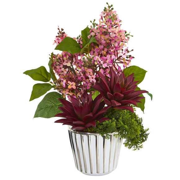 Lilac and Succulent Artificial Arrangement in White Vase with Silver Trimming - SKU #A1196-PK