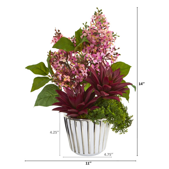 Lilac and Succulent Artificial Arrangement in White Vase with Silver Trimming - SKU #A1196-PK - 1
