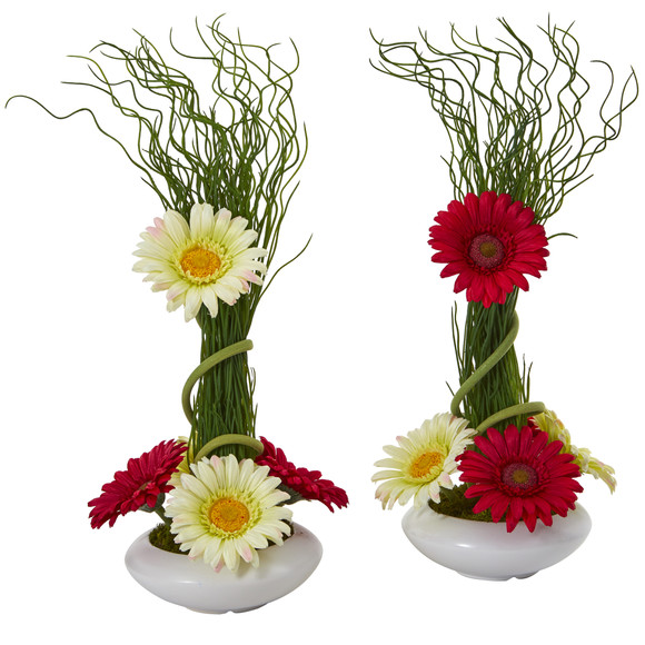 18 Gerber Daisy and Grass Artificial Arrangement in White Vase Set of 2 - SKU #A1197-S2 - 2