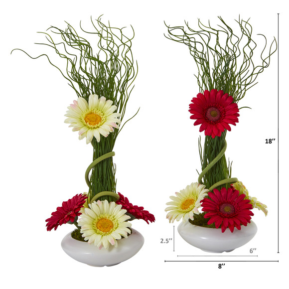18 Gerber Daisy and Grass Artificial Arrangement in White Vase Set of 2 - SKU #A1197-S2 - 3