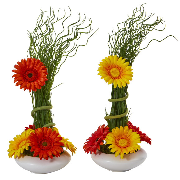 18 Gerber Daisy and Grass Artificial Arrangement in White Vase Set of 2 - SKU #A1197-S2 - 4