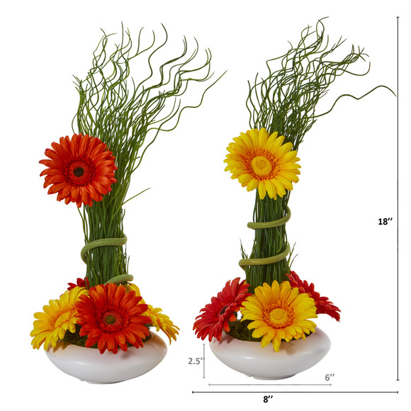 18 Gerber Daisy and Grass Artificial Arrangement in White Vase Set of 2 - SKU #A1197-S2 - 5