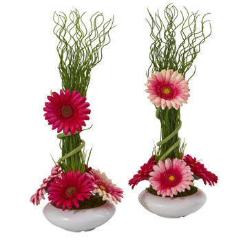 18 Gerber Daisy and Grass Artificial Arrangement in White Vase Set of 2 - SKU #A1197-S2
