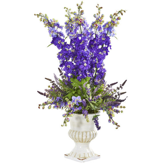 34 Delphinium and Lavender Artificial Arrangement in White Urn - SKU #A1198-PP