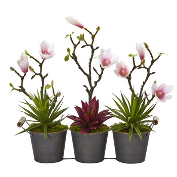 16 Magnolia and Succulent Artificial Arrangement in Trio Metal Planter - SKU #A1199