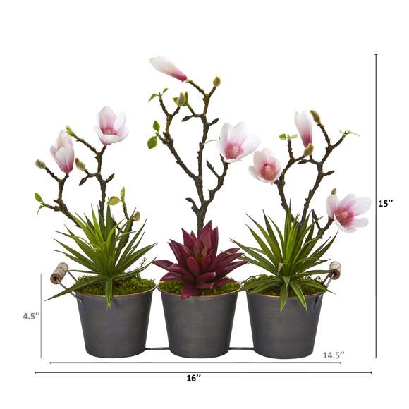 16 Magnolia and Succulent Artificial Arrangement in Trio Metal Planter - SKU #A1199 - 1